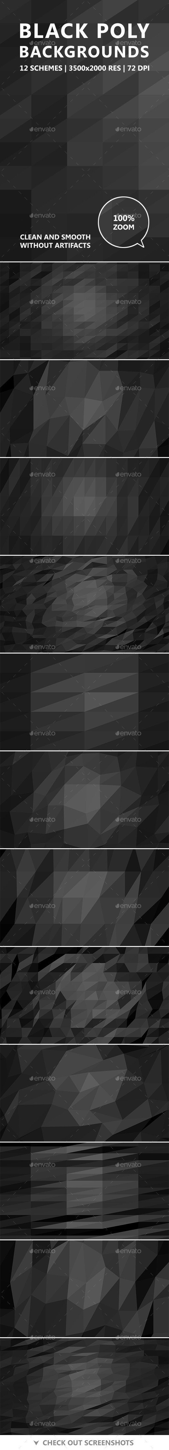 GraphicRiver Black Poly Backgrounds 11617185