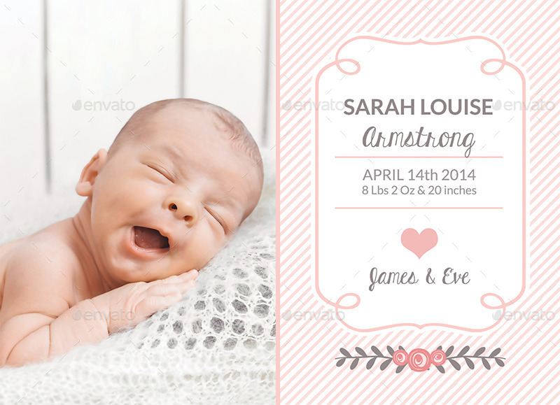 birth announcement template baby girl by