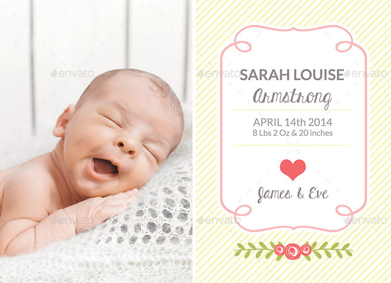 Birth Announcement Template Baby Girl by CarousellerieCreative – Baby Girl Birth Announcement Template