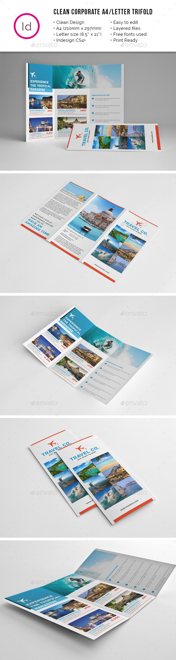 GraphicRiver Travel Tri-fold A4 Letter Brochure 11617634