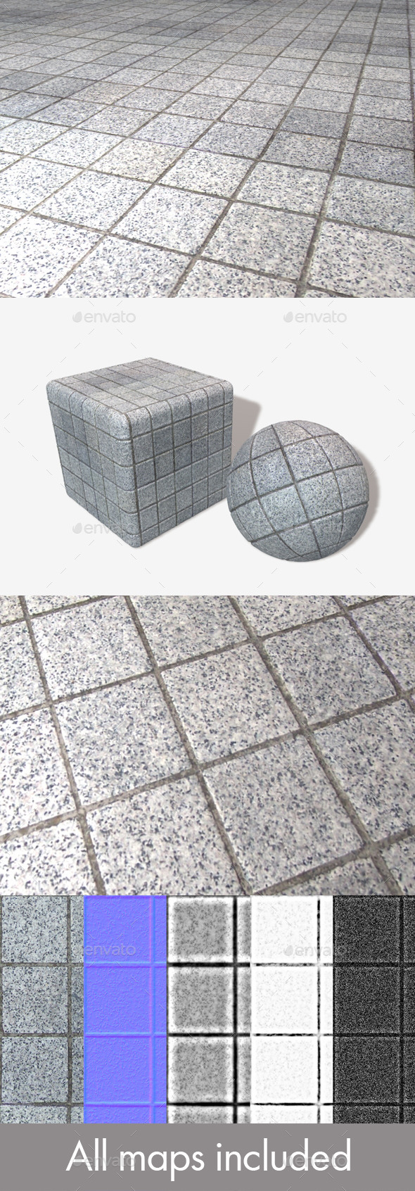 3DOcean Outdoor Square Floor Tiles Seamless Texture 11617644