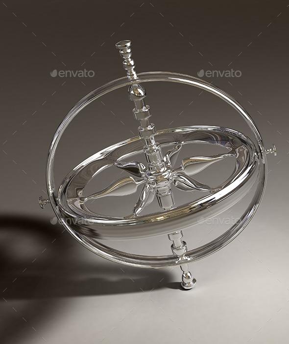 GraphicRiver 3D Spinning chrome gyroscope 11618043