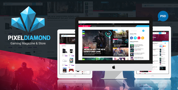 ThemeForest Pixel Diamond PSD Gaming Magazine & Store 11566354