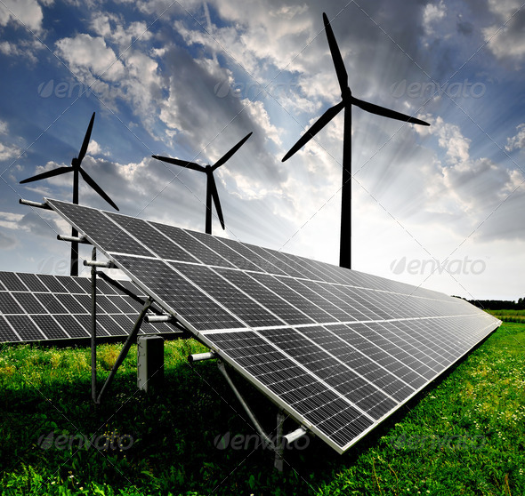 PhotoDune solar energy panels and wind turbine 1165935