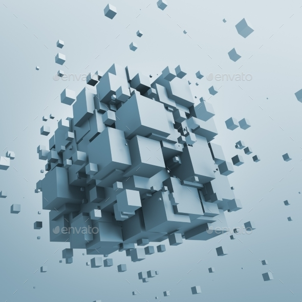 GraphicRiver Abstract 3D Rendering Of Flying Cubes 11620457