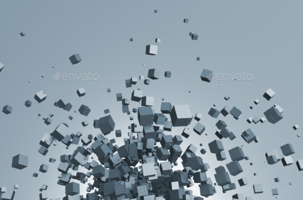 GraphicRiver Abstract 3D Rendering Of Flying Cubes 11620500