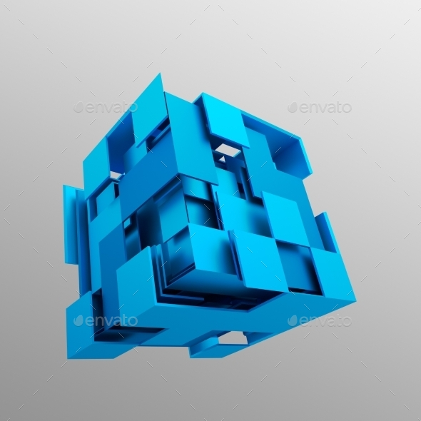 GraphicRiver Abstract 3D Rendering Of Flying Cube 11620540