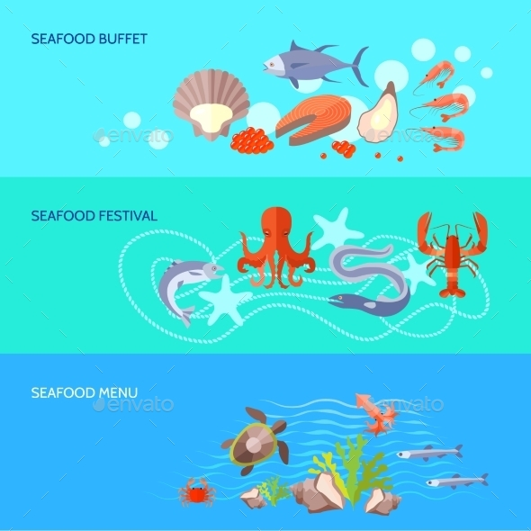 GraphicRiver Sea Food Banner Set 11620579
