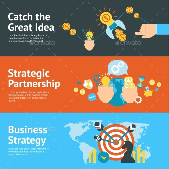 GraphicRiver Business Strategy Analysis Concept Banners Set 11620609