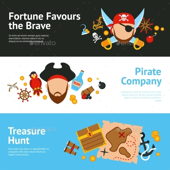 GraphicRiver Pirate Concept Flat Banners Set 11620611