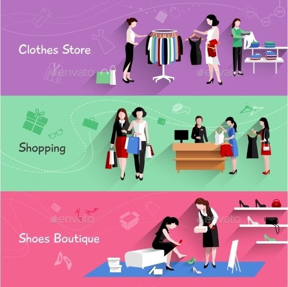 GraphicRiver Woman Shopping Banner Set 11620613
