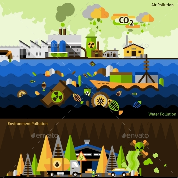 GraphicRiver Pollution Banners Set 11620692