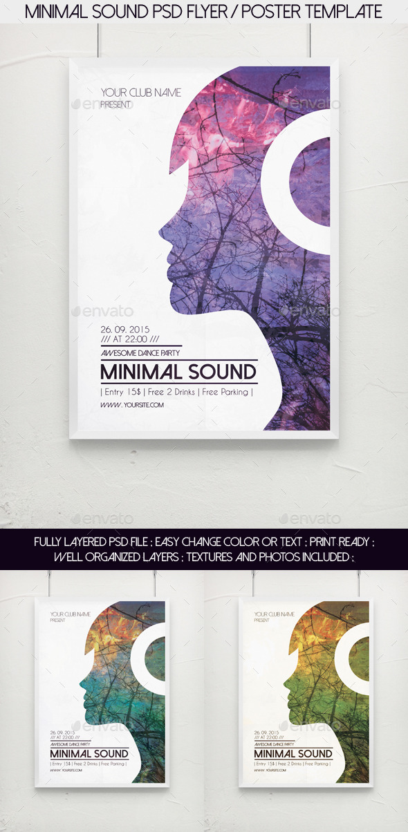 GraphicRiver Minimal Sound PSD Flyer Poster Template 11620738