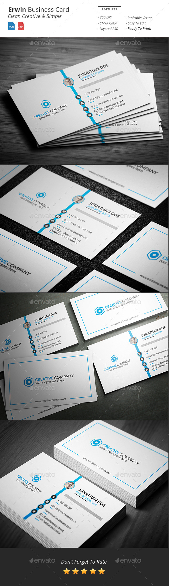 GraphicRiver Erwin Clean Creative Business Card 11621573
