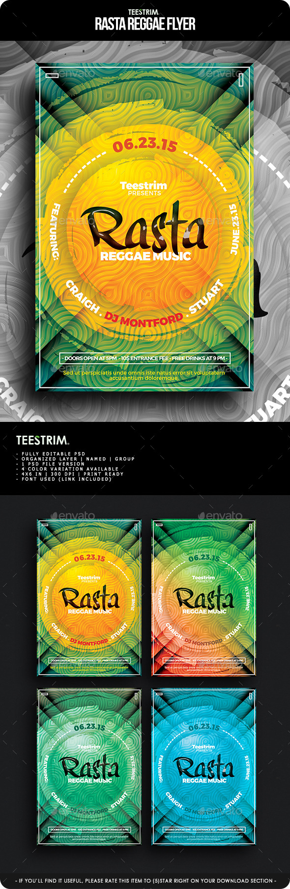 GraphicRiver Rasta Reggae Flyer Template 11621709