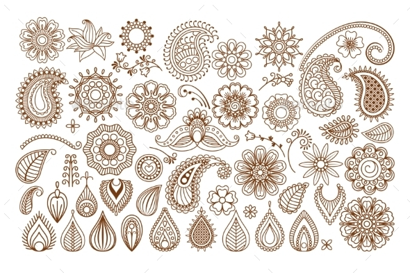 GraphicRiver Henna Tattoo Doodle Elements 11622570