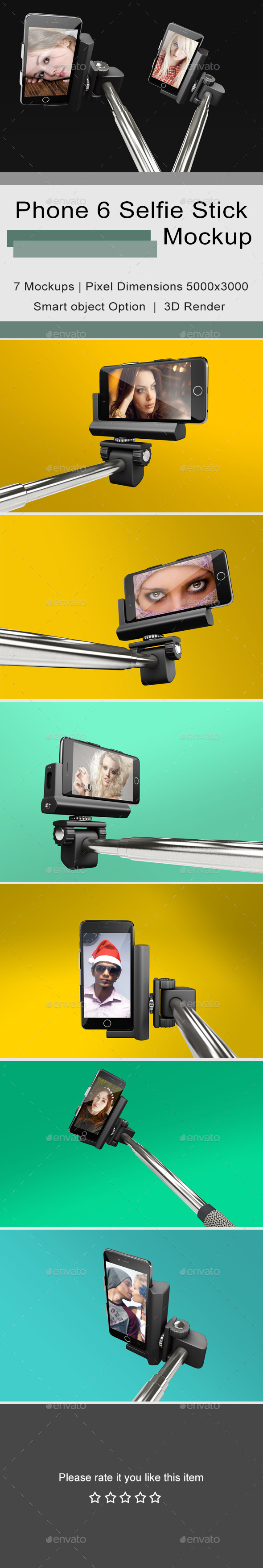 GraphicRiver Phone 6 Selfie Stick Mockup 2 11623399