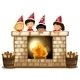 Playful Kids at the Fireplace - GraphicRiver Item for Sale