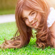 Cute girl on green grass - PhotoDune Item for Sale