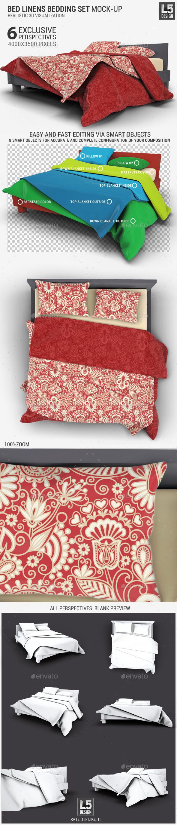 GraphicRiver Bed Linens Bedding Set Mock-Up 11624806