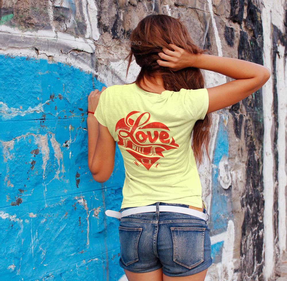 Woman t shirt mockup v 2 by grapulo graphicriver for Woman t shirt mockup