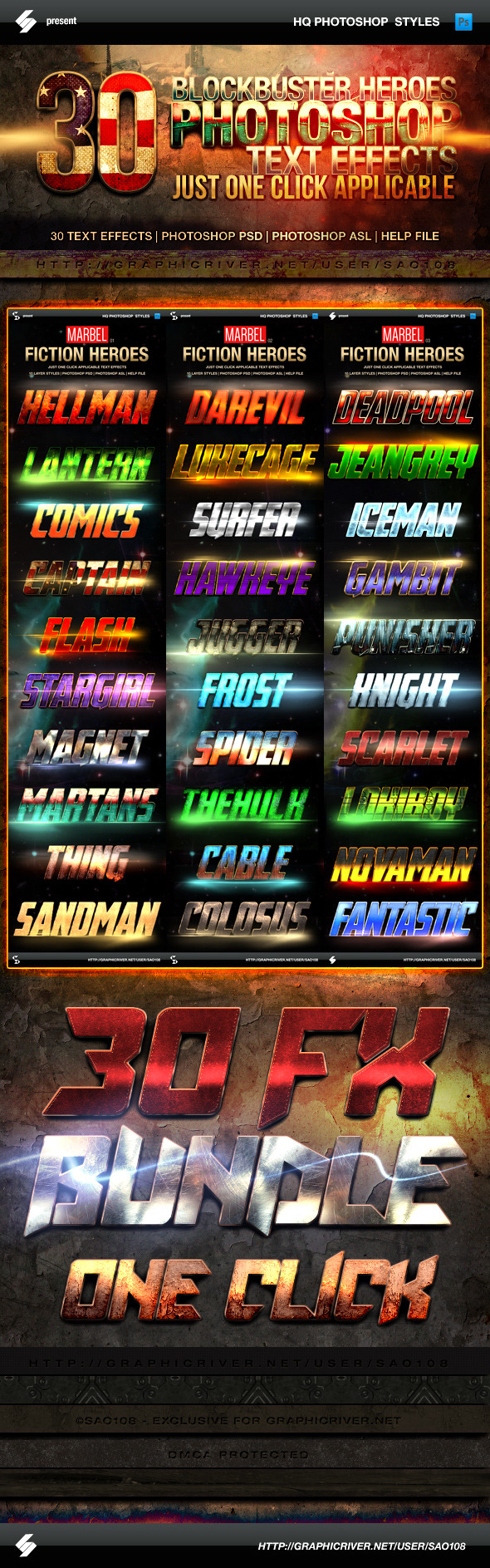 GraphicRiver Blockbuster Heroes Style Text Effects Bundle 11625367