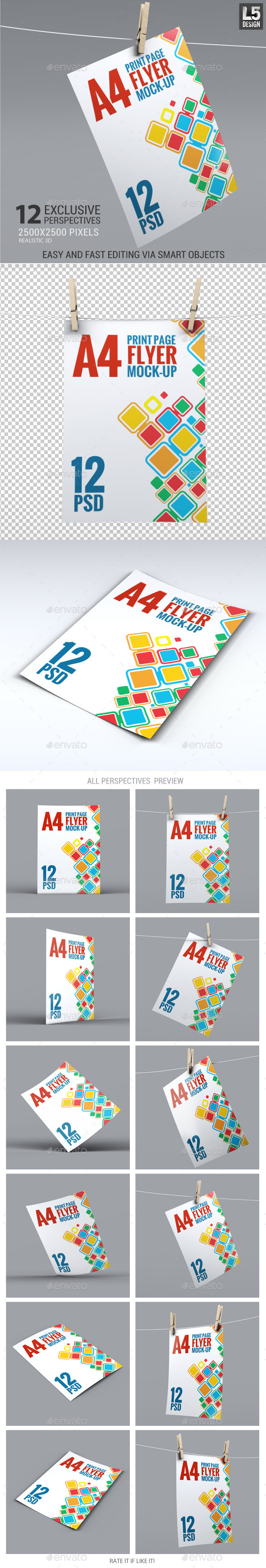 GraphicRiver A4 Corporate Flyer Mock-Up 11625507
