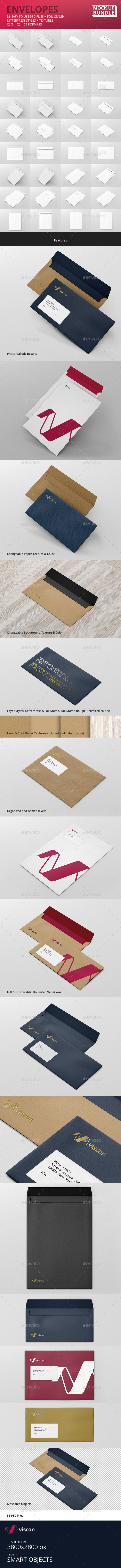 GraphicRiver Envelopes Mock-Up Bundle 11625876
