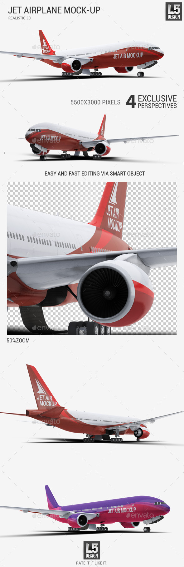 GraphicRiver Jet Airplane Mock-Up 11625879