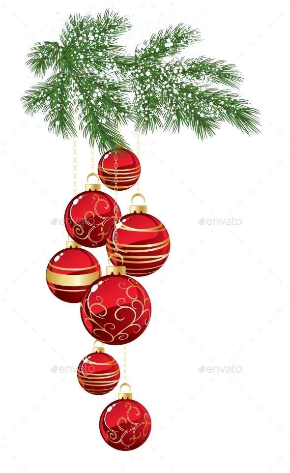 GraphicRiver Pine with Red Christmas Bauble 11625986