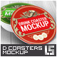 Drink Coasters Round and Square Label Mock-Up - GraphicRiver Item for Sale