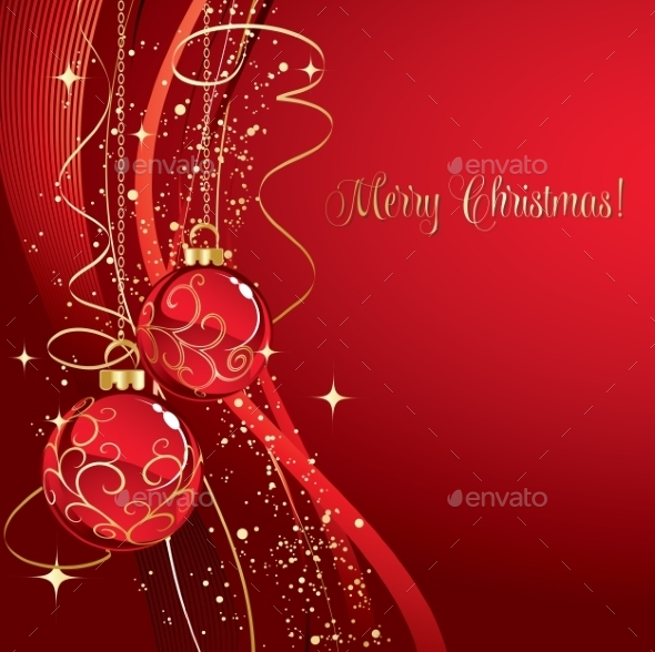 GraphicRiver Merry Christmas Card with Red Bauble 11626593