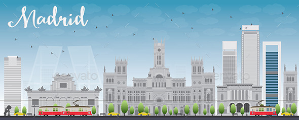 GraphicRiver Madrid Skyline with Grey Buildings and Blue Sky 11626619