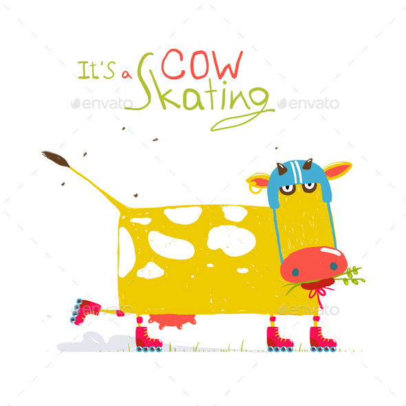 GraphicRiver Cartoon Roller Skating Cow Wearing Helmet for Kids 11626794
