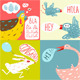 Cartoon Farm Animals Square Greeting Cards - GraphicRiver Item for Sale