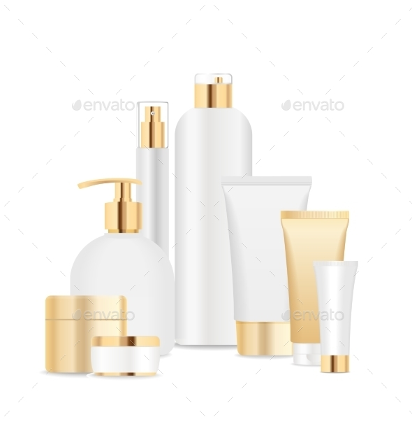 GraphicRiver Group of White and Gold Cosmetic Tubes 11626896