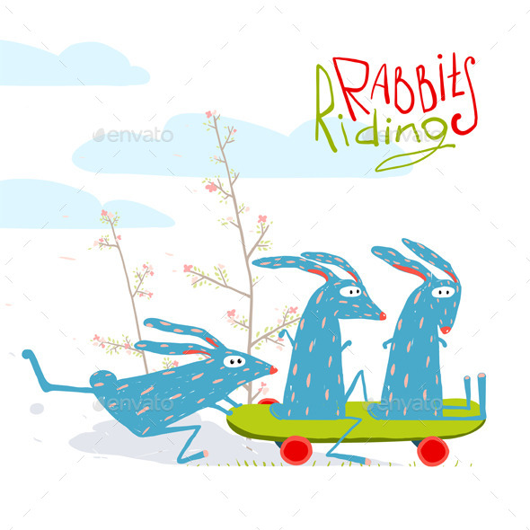 GraphicRiver Cartoon Rabbits Riding Skateboard 11626900