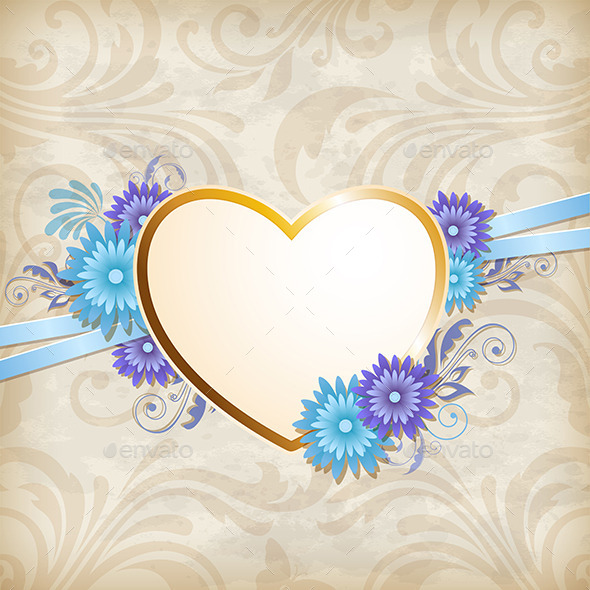 GraphicRiver Golden Heart and Blue Flowers 11627427