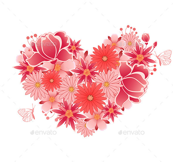 GraphicRiver Heart of Pink and Red Flowers 11627477
