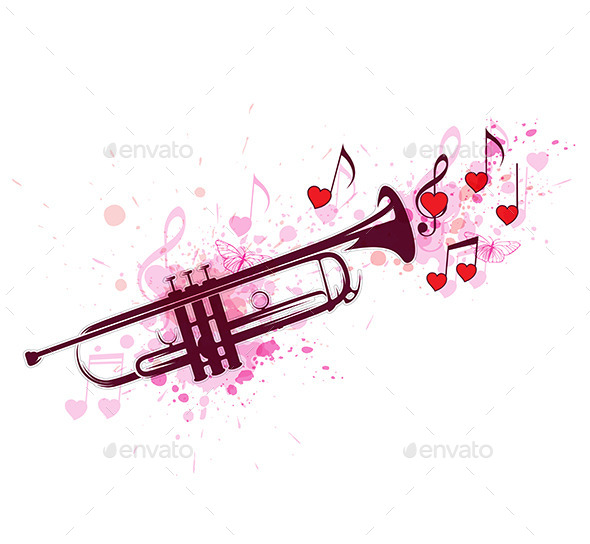 GraphicRiver Trumpet with Notes and Red Hearts 11627707