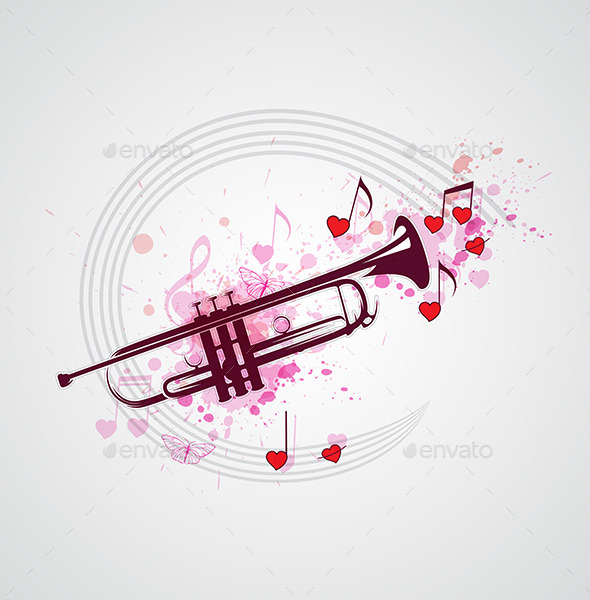 GraphicRiver Music Background with Trumpet 11627976