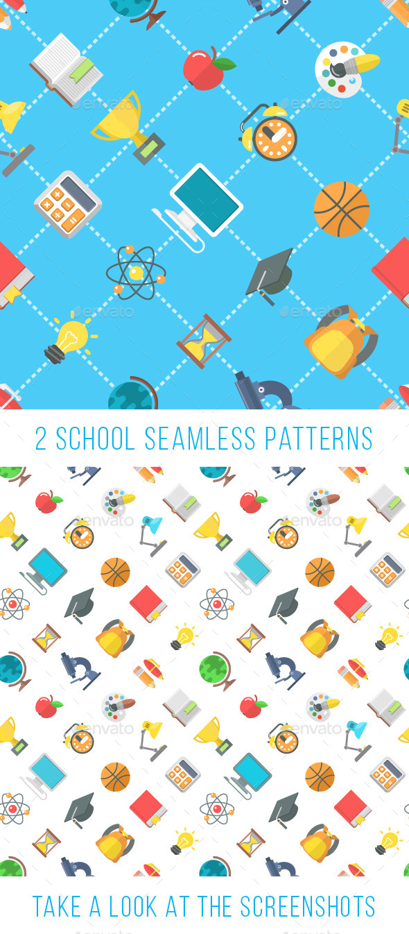 GraphicRiver Modern Flat School Icons Seamless Pattern 11628199