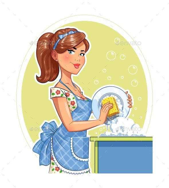 GraphicRiver Girl Washing Plate 11628659