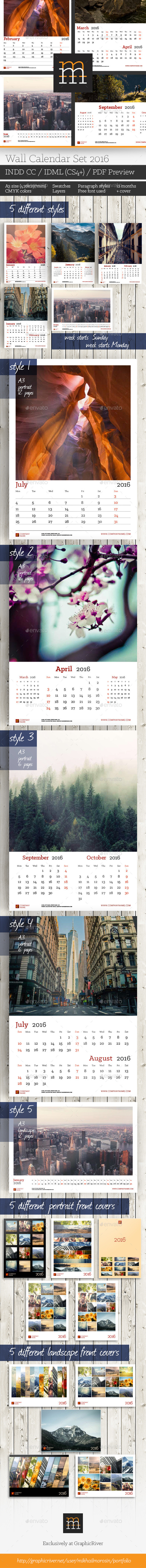 GraphicRiver Wall Calendar Set 2016 11628698