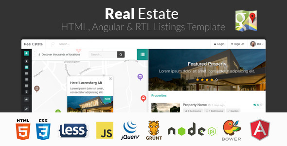 Real Estate - HTML, Angular & RTL Listing Template