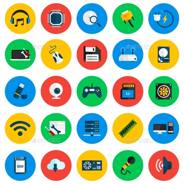 GraphicRiver Computer Hardware Circle Icons 11628829