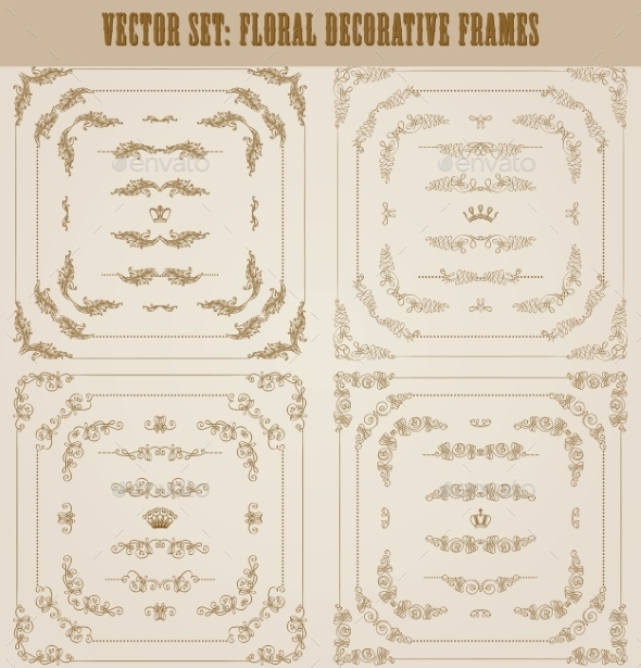 GraphicRiver Set of Gold Decorative Borders and Frame 11628848