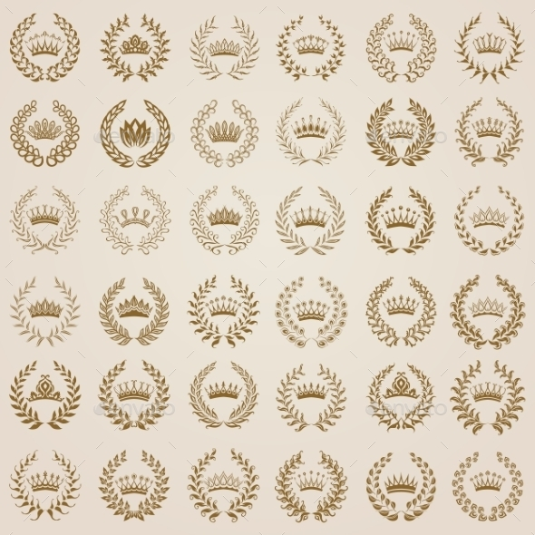 GraphicRiver Luxury Gold Labels with Laurel Wreath 11628917