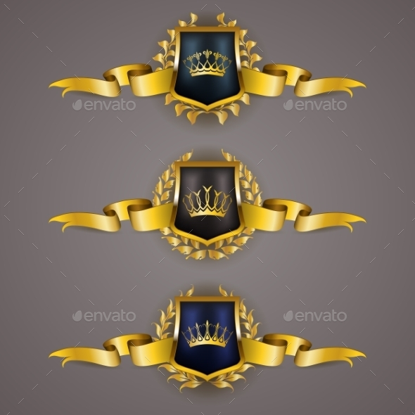 GraphicRiver Golden Shields with Laurel Wreath 11628921
