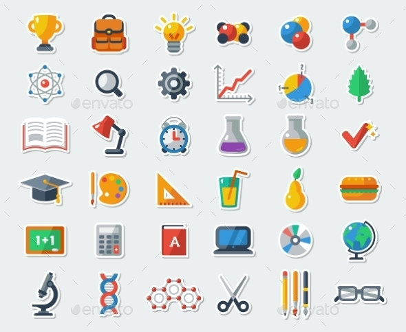 GraphicRiver Flat School Icons 11629389